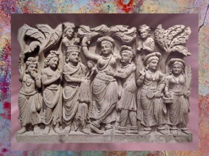 D'après La Reine Maya et la naissance du Buddha, relief de stûpa, IIe-IIIe siècle apjc, dynastie Kushâna, style du Gandhara. (Marsailly/Blogostelle)