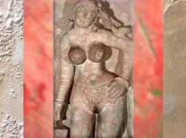 D'après une Femme au Perroquet, vers IIe siècle apjc, dynastie Kushâna, école de Mathurâ, Uttar Pradesh, Inde du Nord. (Marsailly/Blogostelle)
