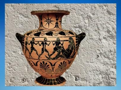 D'après un vase à eau (hydrie), Ulysse et le cyclope Polyphème, Cerveteri, 520 avjc, Art Grec. (Marsailly/Blogostelle.)