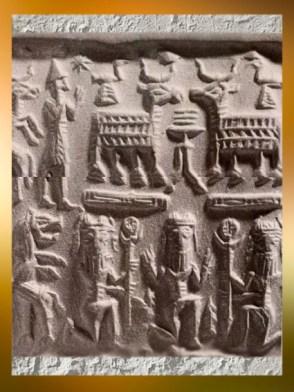 D'après des capridés et des personnages mythiques, sceau cylindrique assyrien, vers 1800 avjc. (Marsailly/Blogostelle)