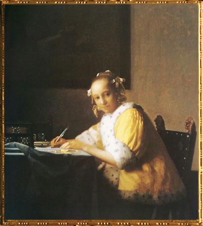 D'après Une Dame Écrivant, Johannes Vermeer, vers 1665, IVMeer. (Marsailly/Blogostelle)