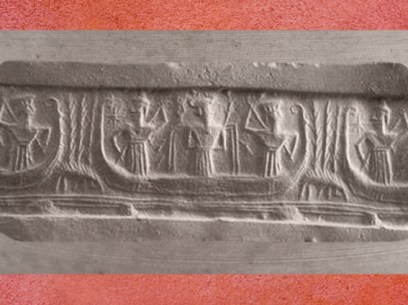 D'après un trio divin sur un bateau, au centre le dieu Enki-Ea et ses Flots, vers 2300–2150 avjc, période d'Agadé, Mésopotamie. (Marsailly/Blogostelle)