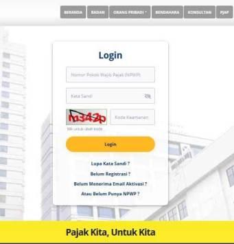 login rumah konfirmasi pajak