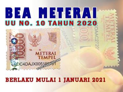 Objek, Tarif dan Sanksi Pidana Terkait Bea Meterai di UU No 10 tahun 2020