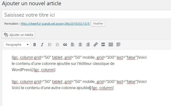 Ajouter une autre colonne sur léditeur classique de wordpress