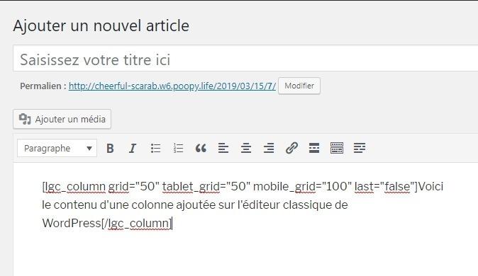 Colonne ajoutée sur léditeur classique de wordpress