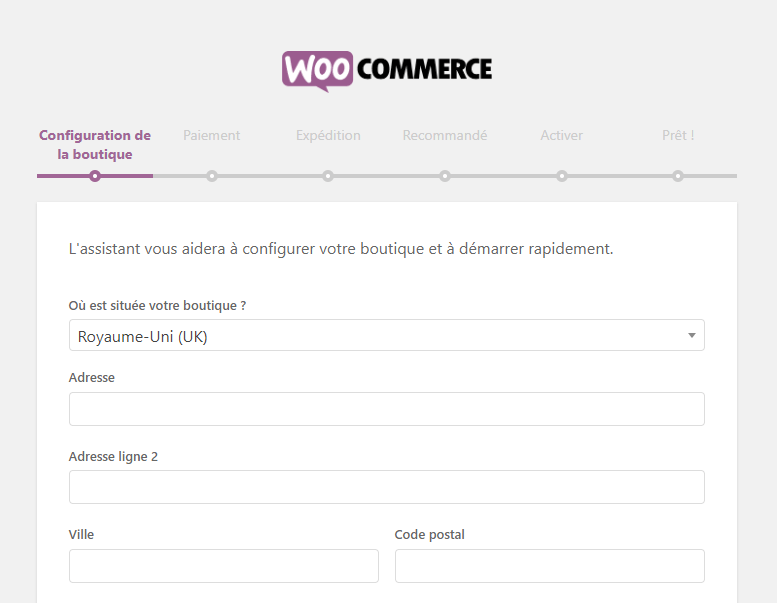 Configuration boutique woocommerce
