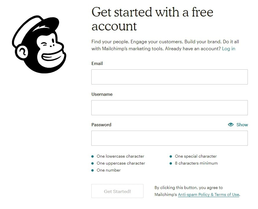 Creation compte mailchimp