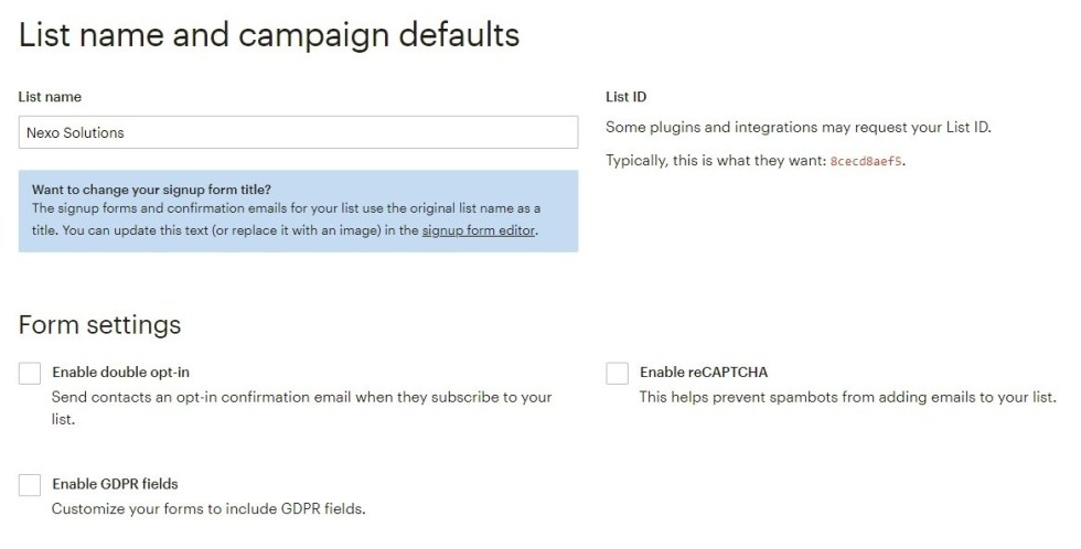 List name gdpr mailchimp configuration