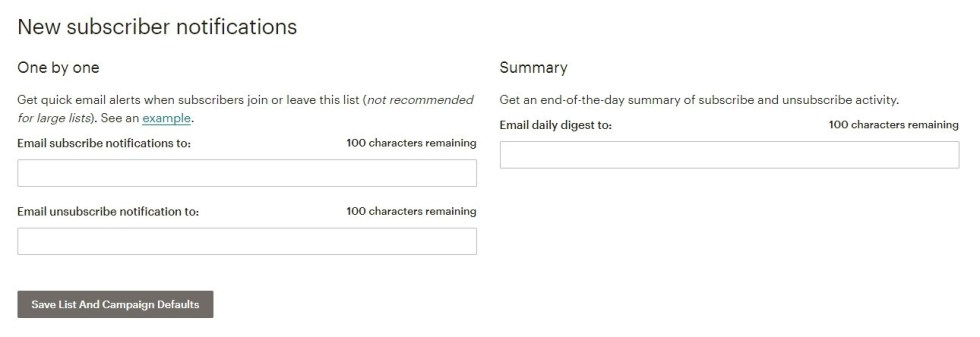 Notification abonnement mailchimp