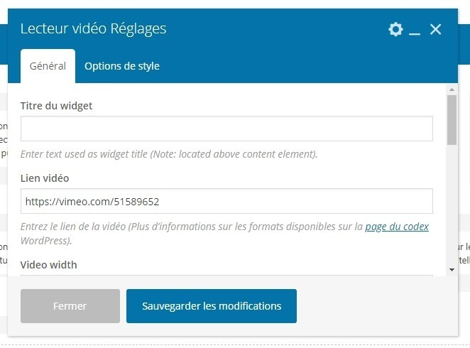 reglage video wpbakery