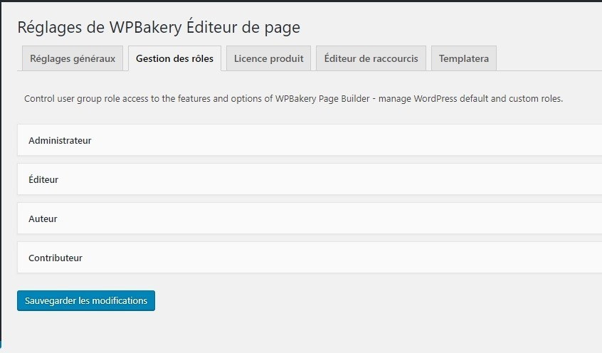 selection des roles wpbakery