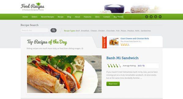 Food Recipes wordpress creer blog recettes cuisine culinaire