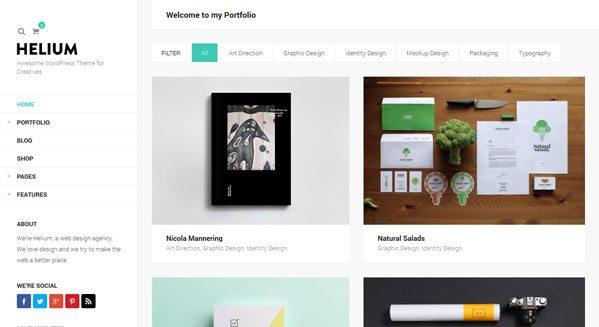 Helium theme wordpress portfolio blogueur
