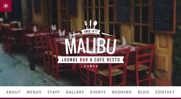Malibu theme wordpress creer site internet restaurant cafe bistro