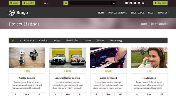 Project Listings theme wordpress pour vente aux encheres