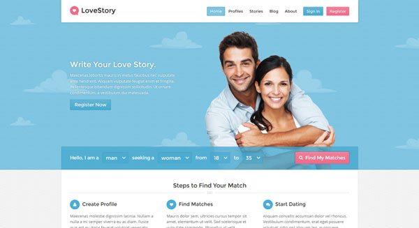 LoveStory tema de WordPress para crear un sitio de citas | BlogPasCher
