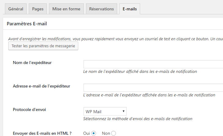 settings email events manager
