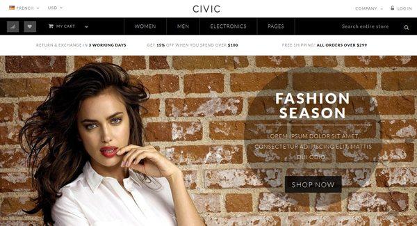 Civic Thème Prestashop pour vendre des habits sur internet
