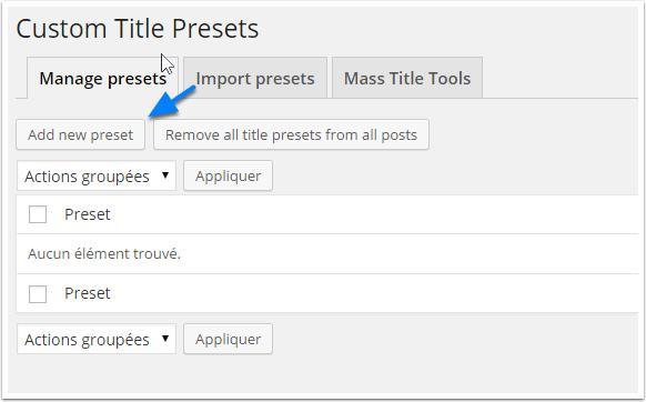 custom-Titel-Preset-Liste