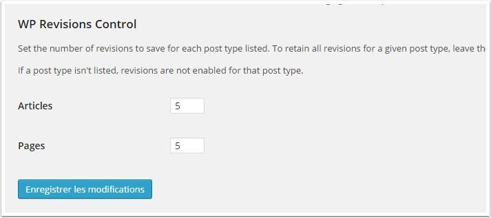 wp-revisões em Configurações