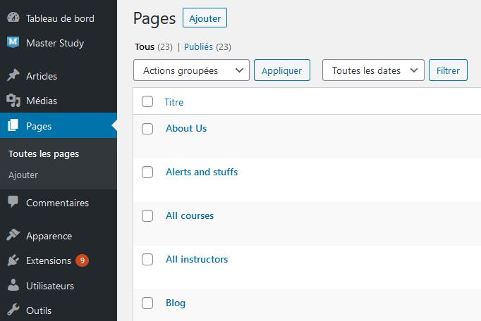Comment importer exporter menus navigation wordpress blogpascher 5 3