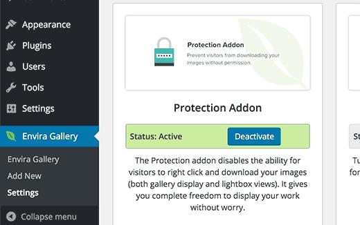 Görüntü koruma Envira uzantısı