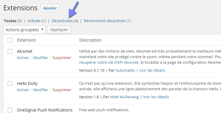 Liste des plugins WordPress