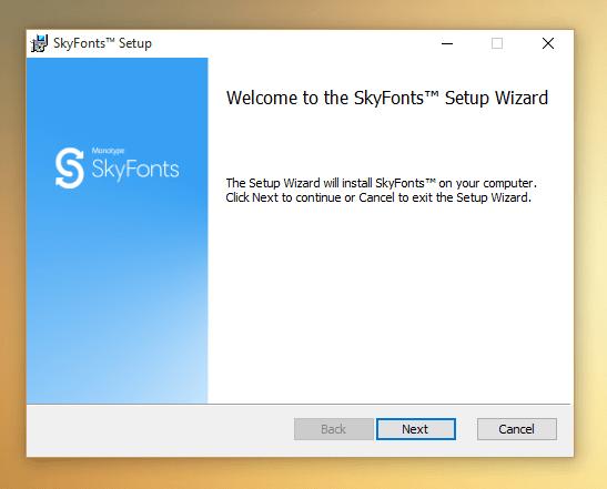 Primeira página de instalação do SkyFont no Windows
