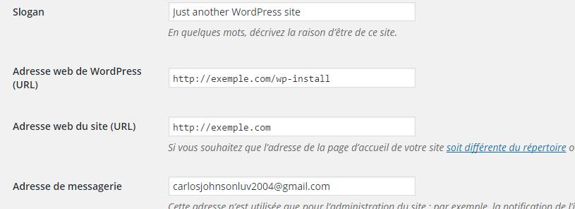 Configurações gerais WordPress