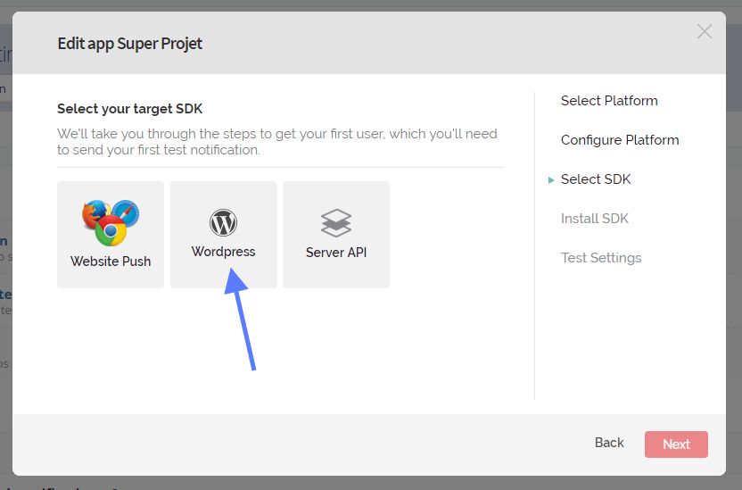 Selection de WordPress SDK OneSignal