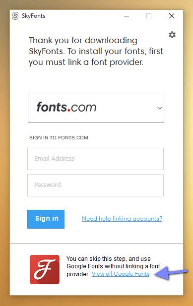 aplicação SkyFonts para Windows na instalação de fontes