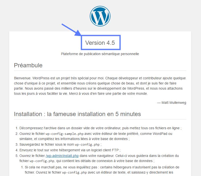 versão do WordPress WordPress tutorial Readme HTML