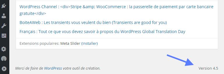 WordPress versão do Dashboard