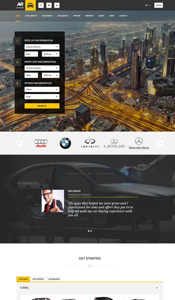 Auto Rent - A Wordpress-Theme eine Autovermietung Website ...