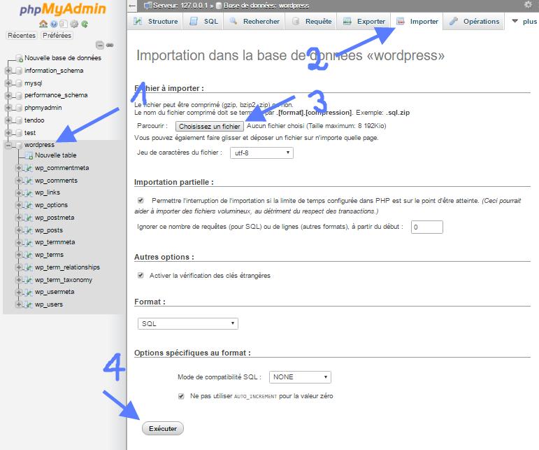 importation de base de données sur phpMyAdmin