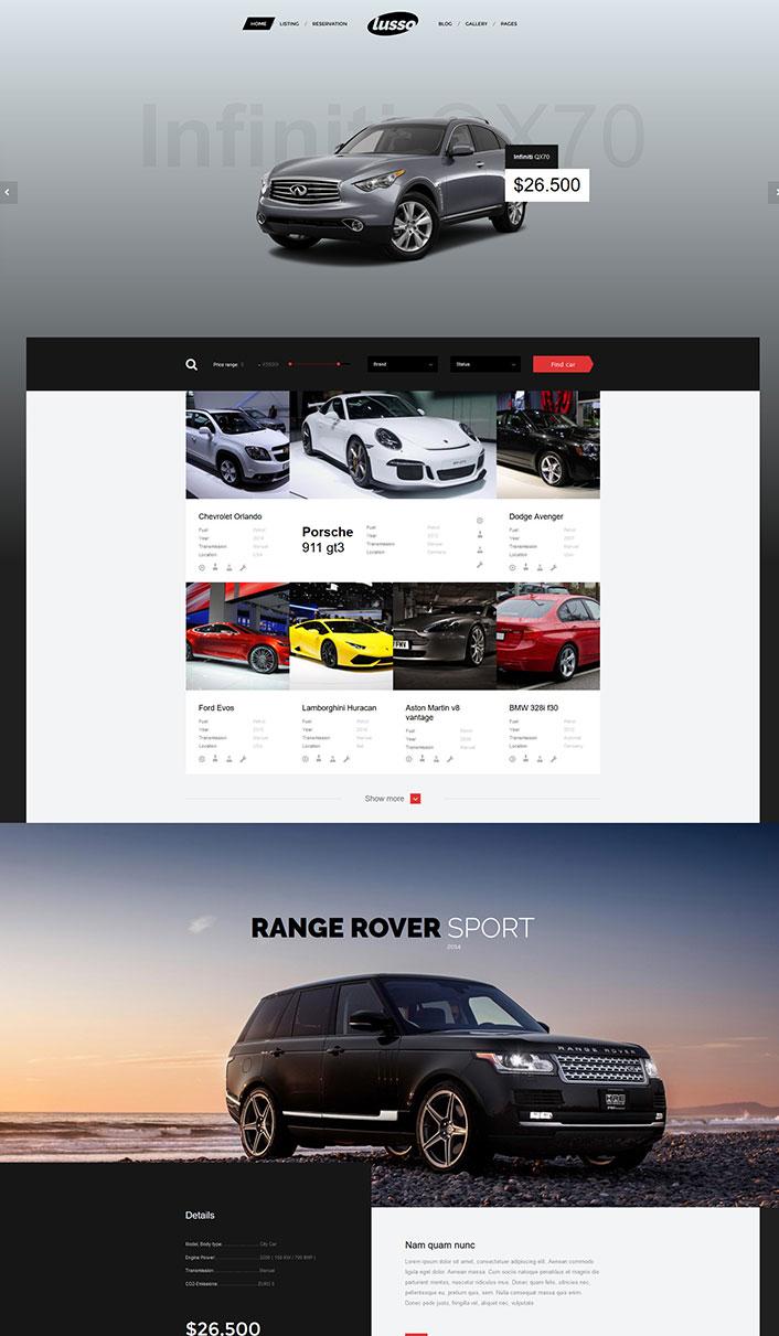 Lusso - ein Wordpress-Theme eine Autovermietung Website erstellen ...