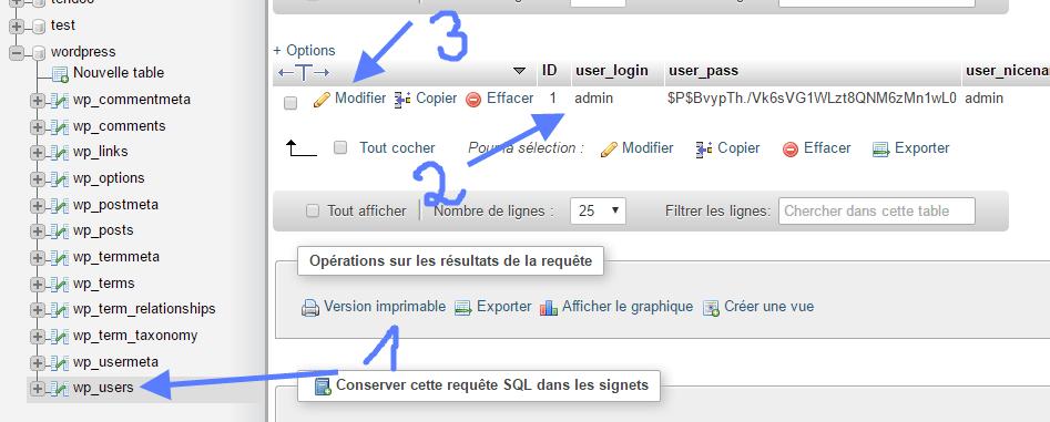recherche table utilisateur wordpress