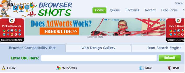 Tiros navegador para testar website