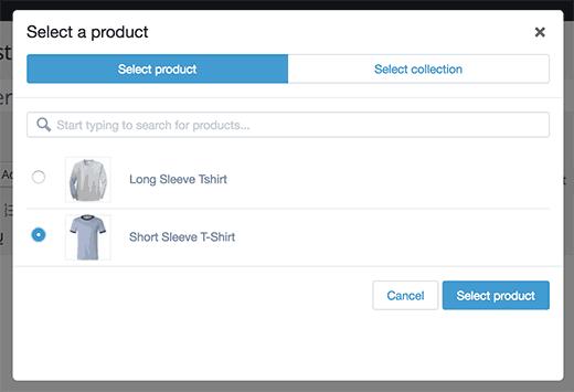 Список продуктов Shopify