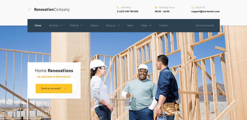 Tema Wordpress de arquitetura de renovação para interiores