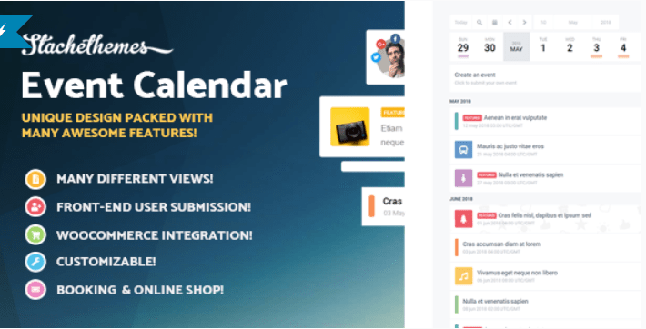 plugins WordPress pour intégrer un calendrier - Stachethemes event calendar