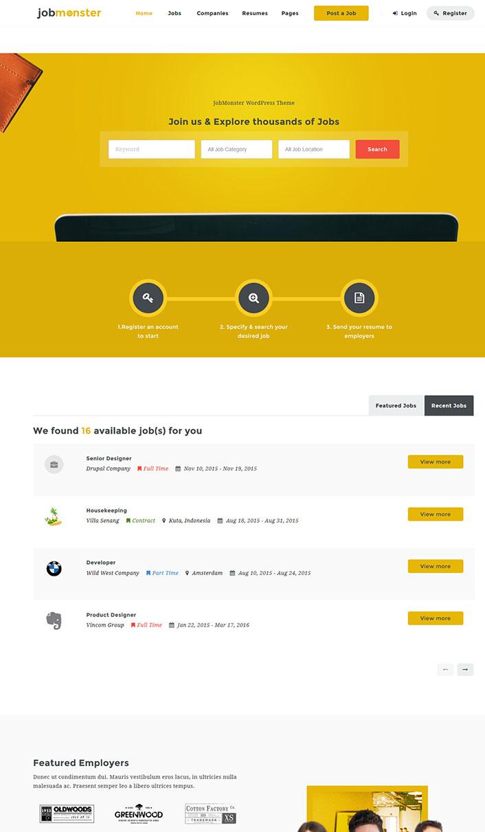 Jobmonster - Ein Wordpress-Theme für eine Web-Stellenangebote ...