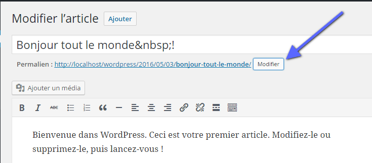 modification du permalien d'un article WordPress