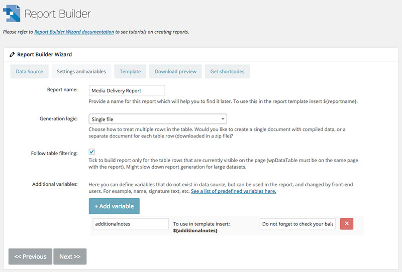 página de configurações do construtor de relatórios