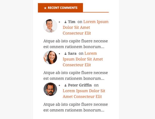 sidebar de commentaires WordPress