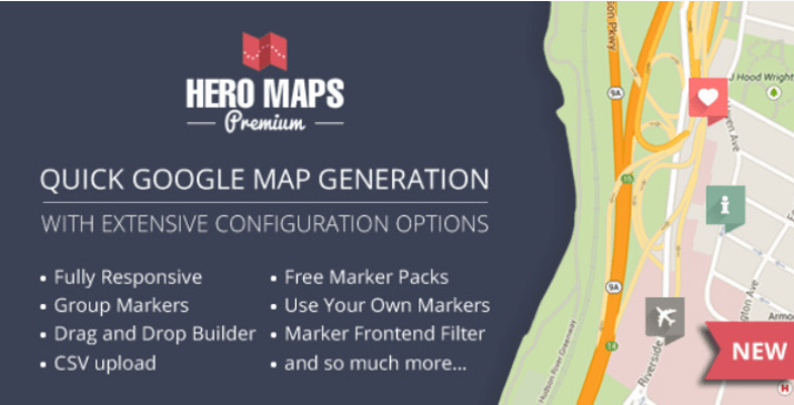 plugins WordPress de cartes de géolocalisation - Hero maps premium responsive google maps plugin