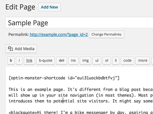 création d'optin modification d'une page WordPRess