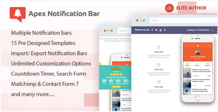 Apex notification bar responsive notification bar plugin for wordpress