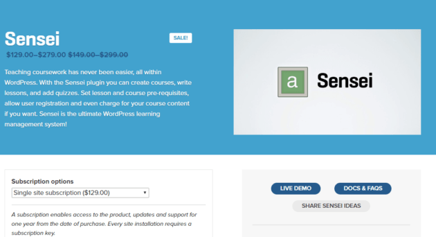 Sensei plugin WordPress
